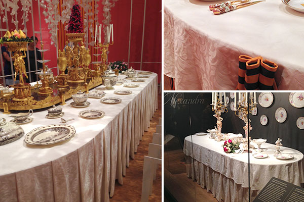 Hermitage tentoonstelling Dining with the Tsars Cottona damast