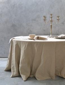 natuurlijk linnen ovaal tafellaken