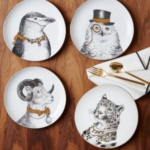 Bordjes met afbeeldingen van dieren