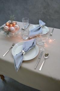 kerst linnen tafellaken oester serevtten grijs Cottona 2