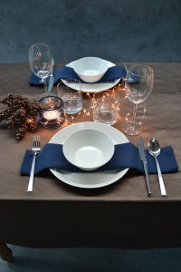 kerst tafellaken brons servetten donkerblauw Cottona