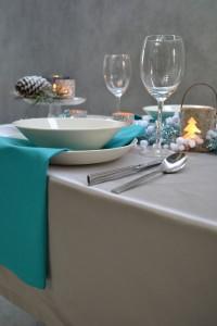 kerst tafellaken zilver servetten turquoise zij Cottona