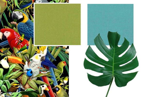 Collage's: stoffen katoencollectie Cottona turquoise, appel, framboos en saffraan. Andere foto's Pinterest.