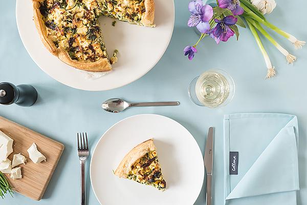Recept quiche + buiten tafelkleed