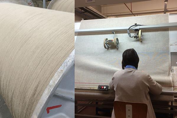 In de weverij: de stof wordt nauwkeurig gecontroleerd op weeffouten