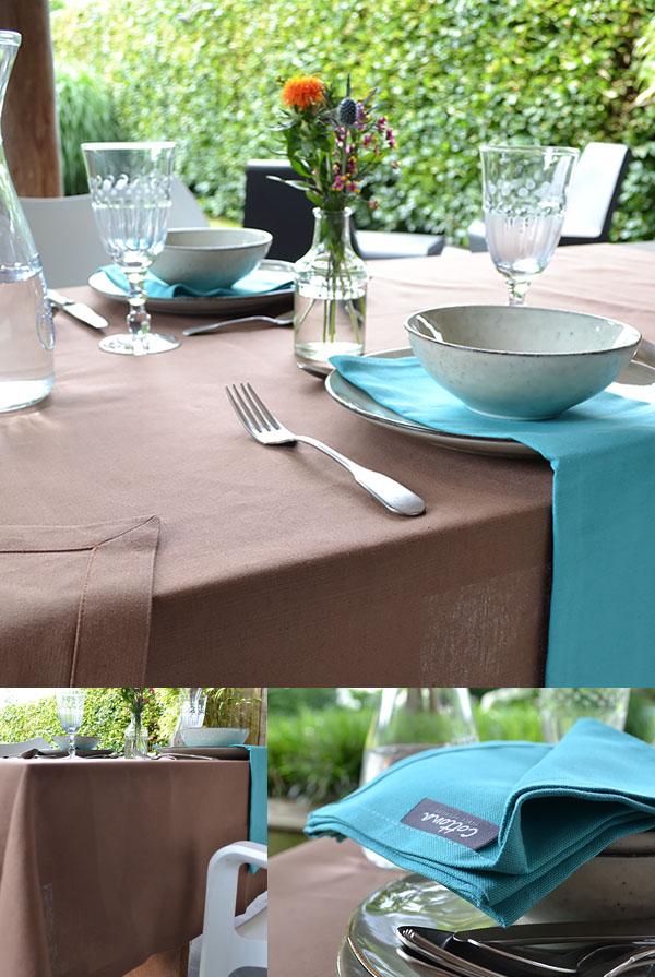blogpost 25 juli - uitgelichte afbeelding - cottona tafellaken linnen mokka servetten turquoise tafel dekken terras