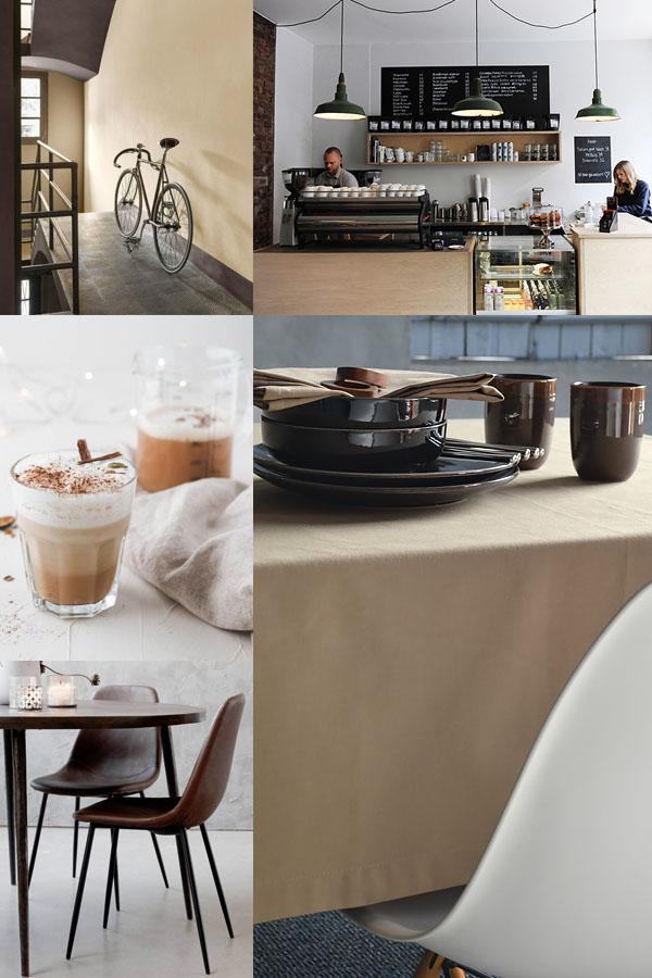 Cafe latte lekkere koffie en trendy interieurkleur